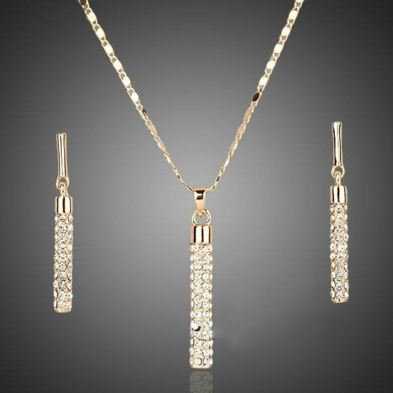 Luxury Zirconia Cylindrical Women Jewelry Set 18K Gold Plated Platinum Lucky Mystic Jewelry Party Earrings Necklace Set
