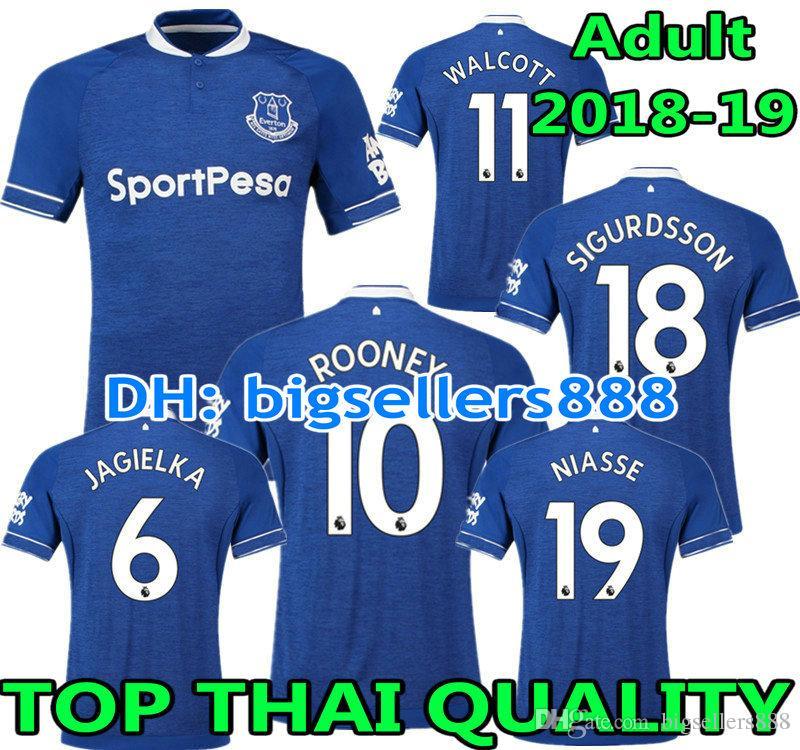 Rooney 18 19 Everton Casa Azul Camiseta De Fútbol De Distancia Niasse  Sandro Mirallas Baines Walcott Jagielka 2018 2019 Top Calidad Tailandesa  Camiseta De ... 0a649ec2db2db
