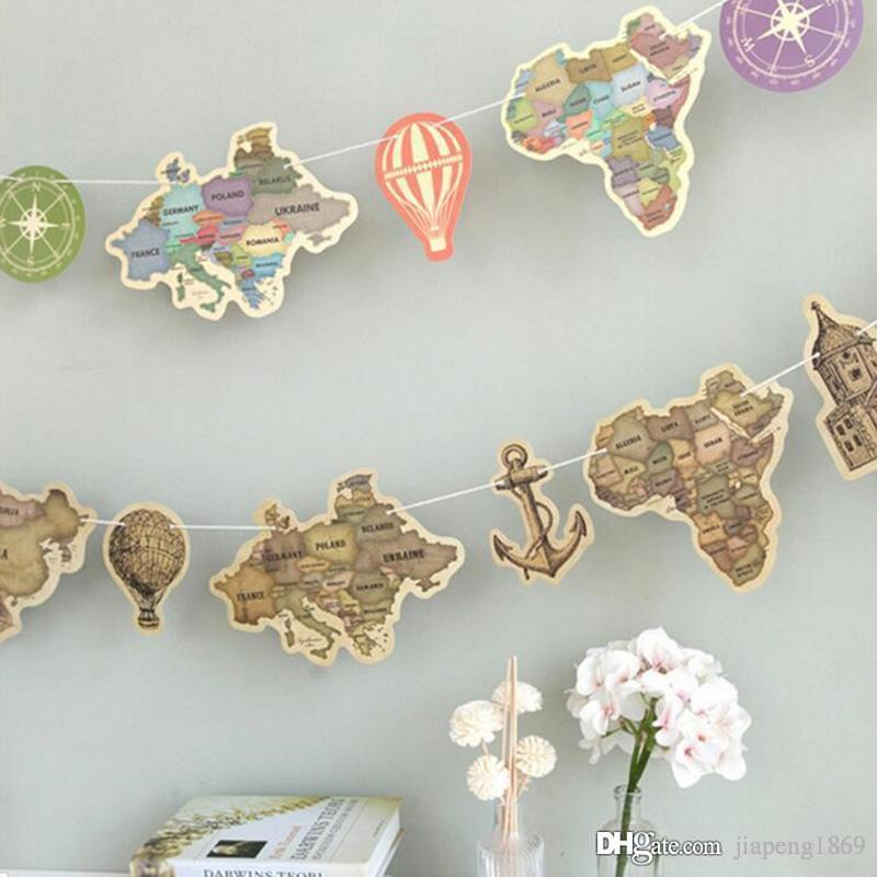 World Map Party Supplies.Ancient World Map Paper Flag Hang Pennants Celebration Party Banner