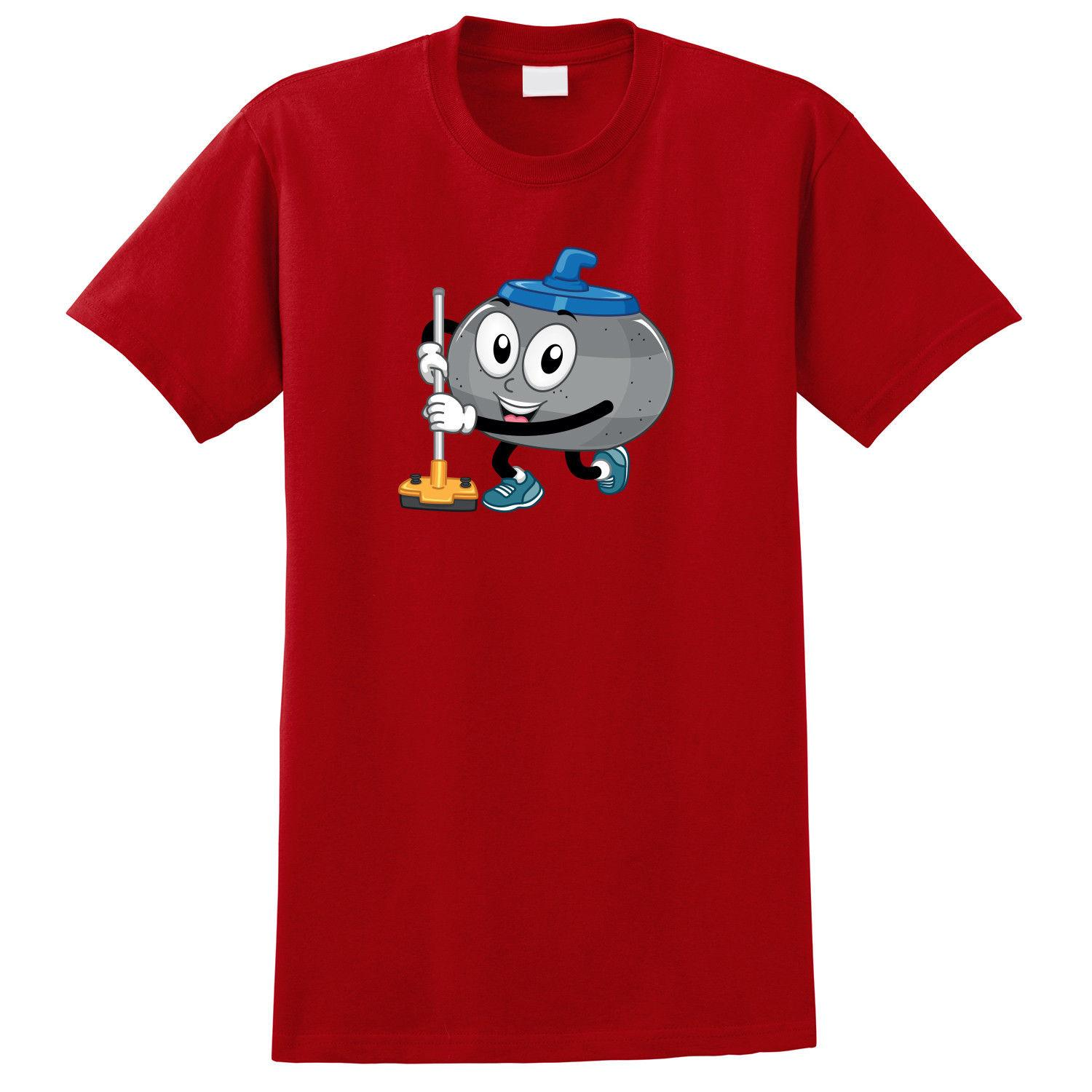 Curling Stone Cartoon T-shirt drôle expédition gratuite cadeau unisexe occasionnel tshirt
