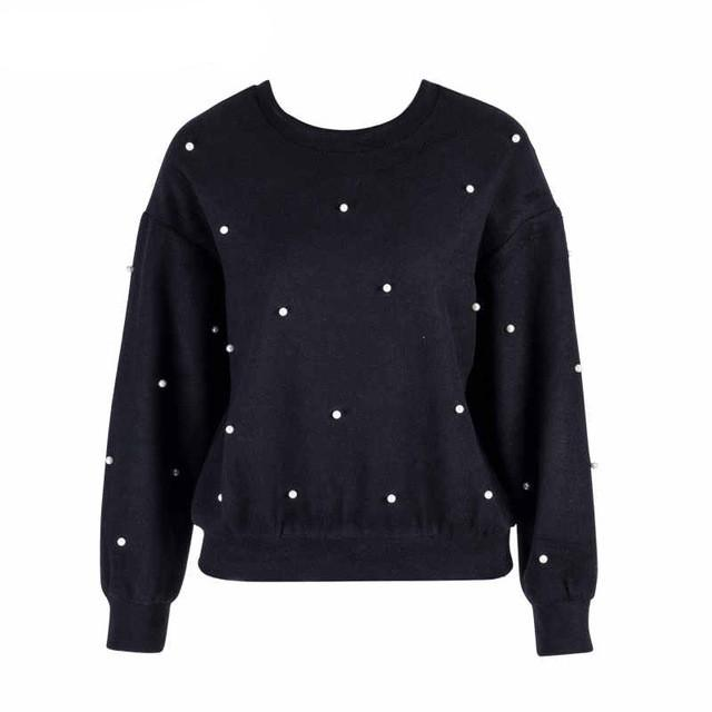 3f9f96d58bc 2019 Samuume Elegant Pearl Embellished Tops Jumper Autumn Winter ...