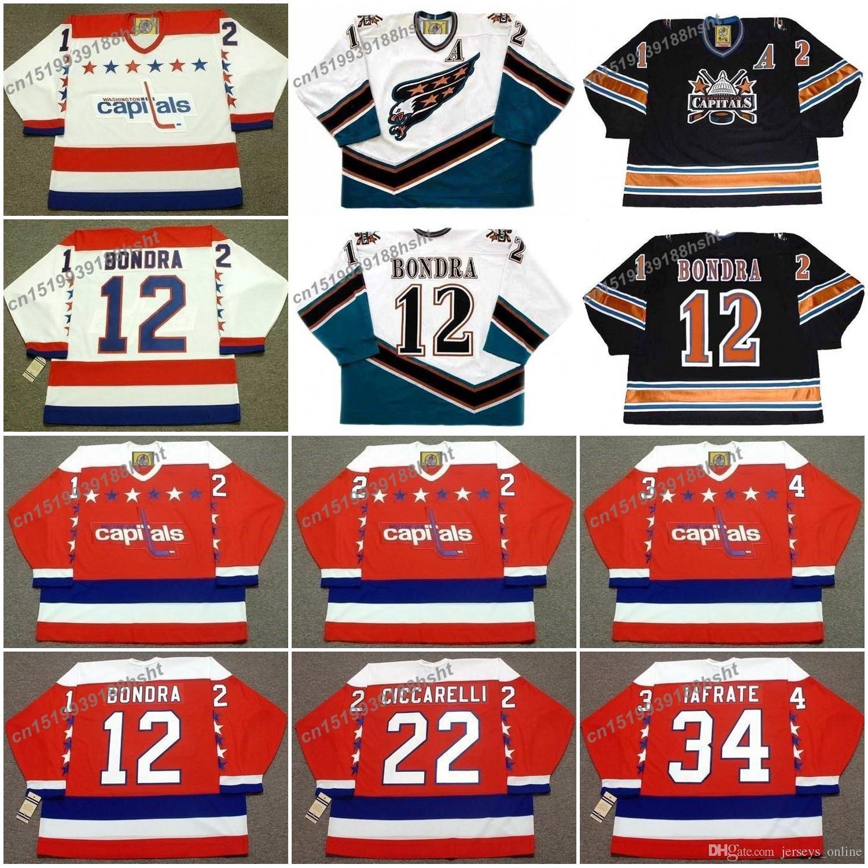 2019 12 Peter Bondra 22 Dino Ciccarelli 34 Al Iafrate Washington Capitals  1992 Ccm Vintage Hockey Jersey From Jerseys online f47aaf79b25