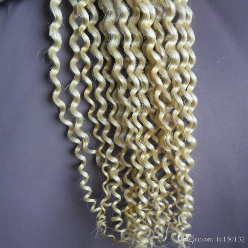 #613 Bleach Blonde Remy I Tip Human Hair Extension kinky curly 100% Europen Human Keratin Pre Bonded Hair Extension 1g/strand