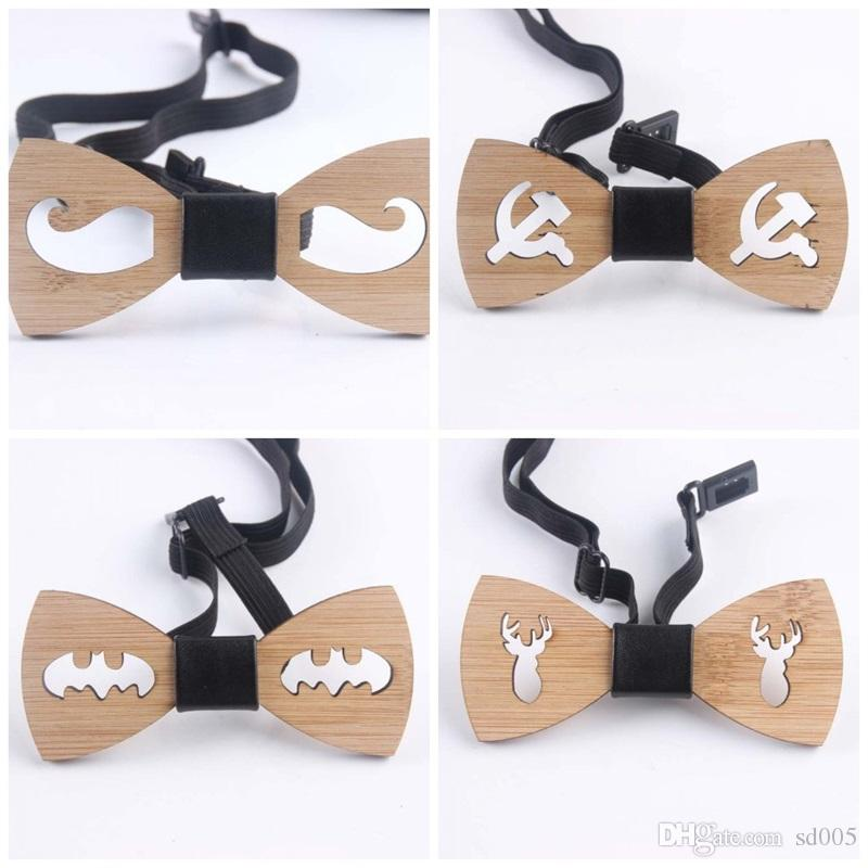 leisure wooden hollow out bow ties creative design bamboo bowknot