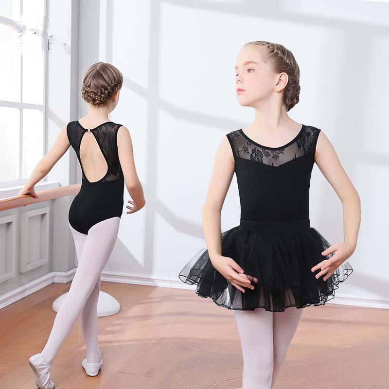 be88becb3 2019 New Black Lace Mesh Ballet Leotards Girls Kids Short Long ...