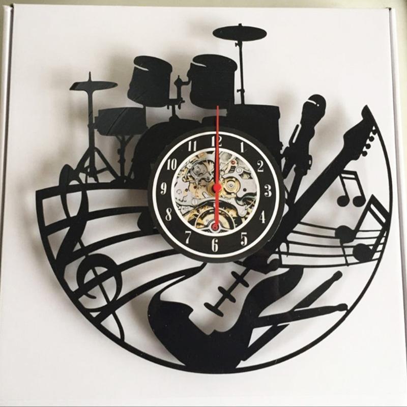 e365e3bc39d Compre Moda Relógio De Parede CD Record Design Moderno Tema Musical  Decoração De Casa Relógios De Arte Para Sala De Estar Quarto FP8 JY06 De  Windomfac