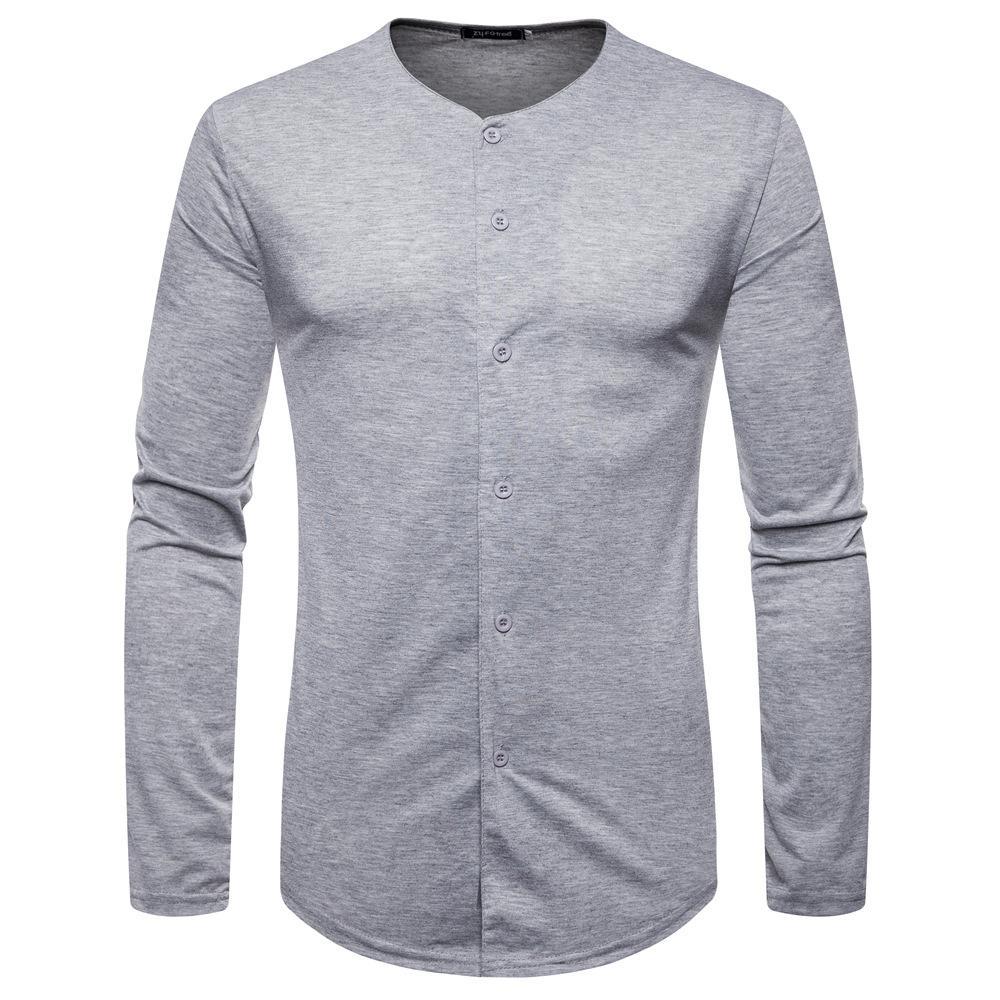 Compre Camiseta Del Botón Del Inconformista De Los Hombres 2018 A Estrenar Camiseta  Larga De La Manga Del Ajuste Slim Hombres Hip Hop Streetwear Jersey De ... c75e8c361b9