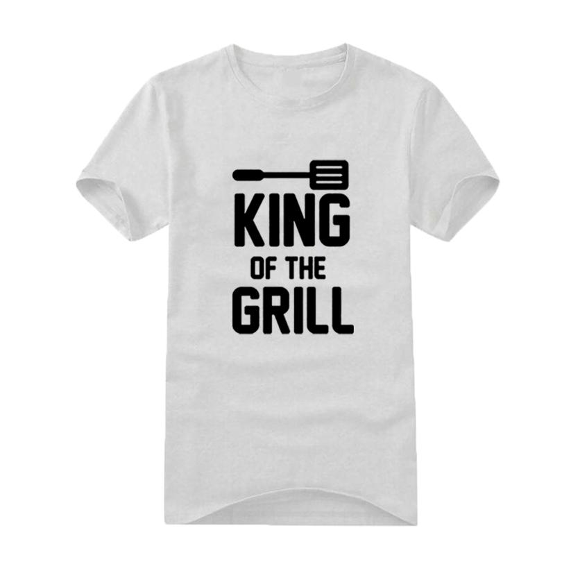 648207a5 Barbecue Lovers T-shirt King Of The Grill Slogan Funny Saying Cooking Bbq  Men's T Shirts Black White Print Tops Cotton Tee Shirt