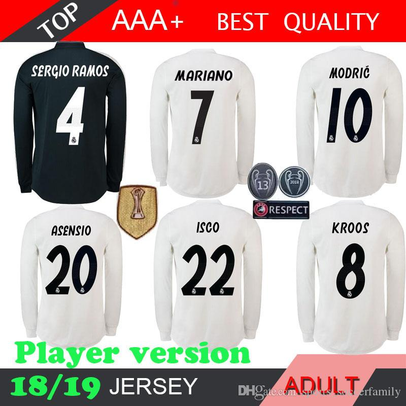 7754ea2fcf0b0 Compre MARIANO Real Madrid Manga Larga 18 19 BALE Jugador Versión Jerseys  De Fútbol Kits 2018 2019 MODRIC LUCAS V MORATA KROOS ISCO BENZEMA A  16.82  Del ...