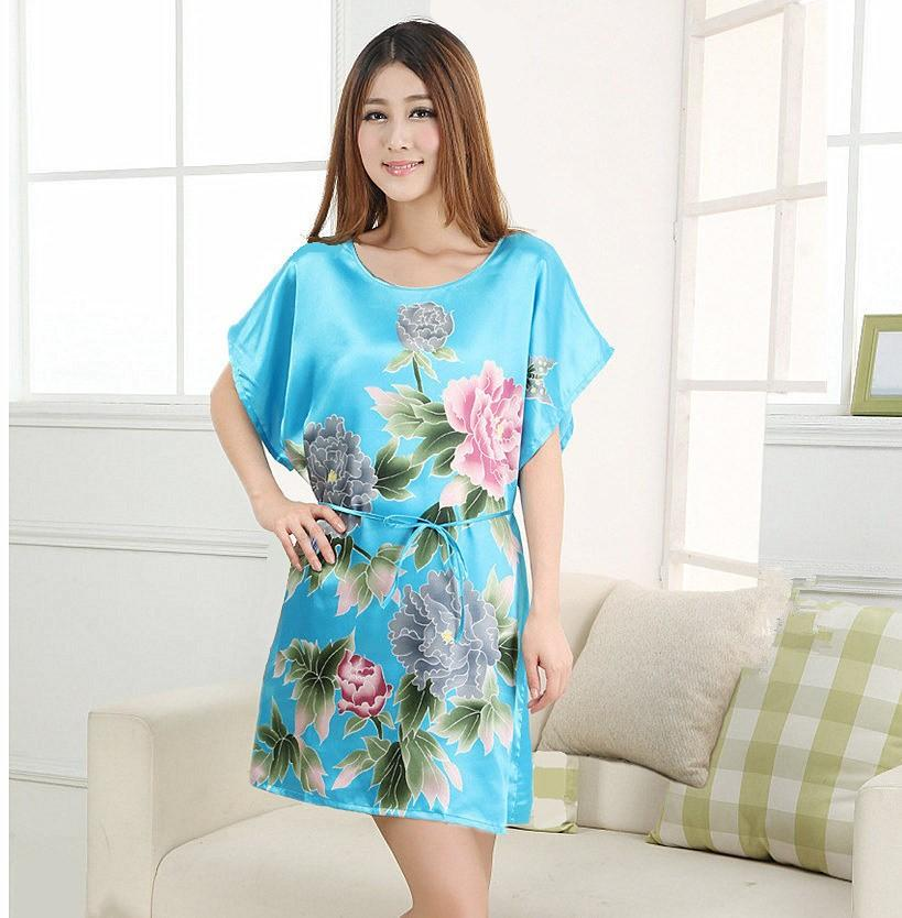 Blue Floral Plus Size Women Silk Robe Dress Lady Girl Sexy Mini Bathrobe Nightgowns Summer Lounge Sleepwear One Size NR052
