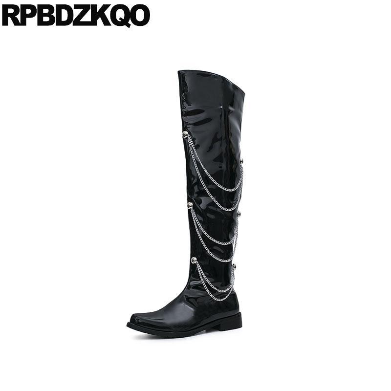 8dd156e800f Shoes Autumn Mens Leather Tall Boots Zipper Handmade Waterproof Thigh High  Black European Designer Over The Knee Metalic Fall