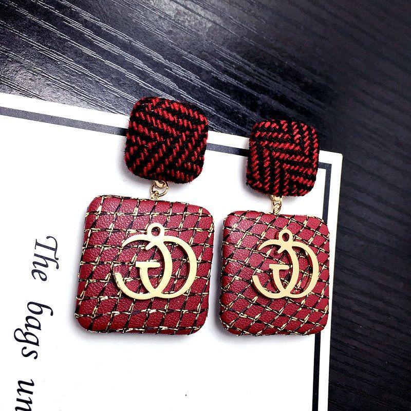 Korean simple Letter exaggerated big square plaid black Button femme charm earings personality elegant pendant Earrings FSB439
