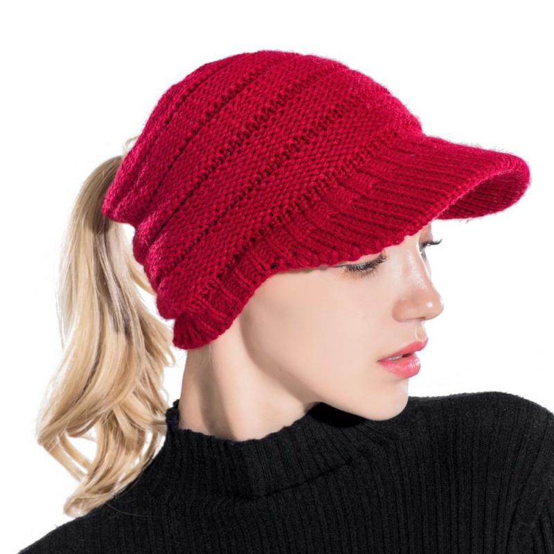 f03b90e359b Winter Knitted Baseball Caps Chic Sun Visor Fashion Women Solid Hats ...