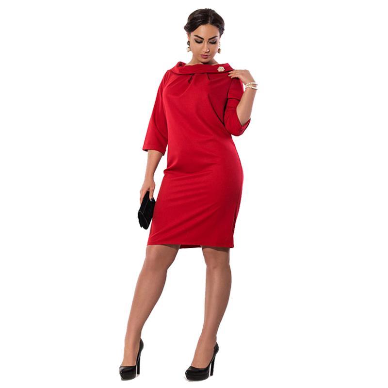 36f333415b2 Acheter 2019 Été Grande Taille Elegance Robe Bureau De Travail Robe Droite  Plus La Taille Vêtements Pour Femmes Vêtements Robes 5XL 6XL Grande Taille  De ...