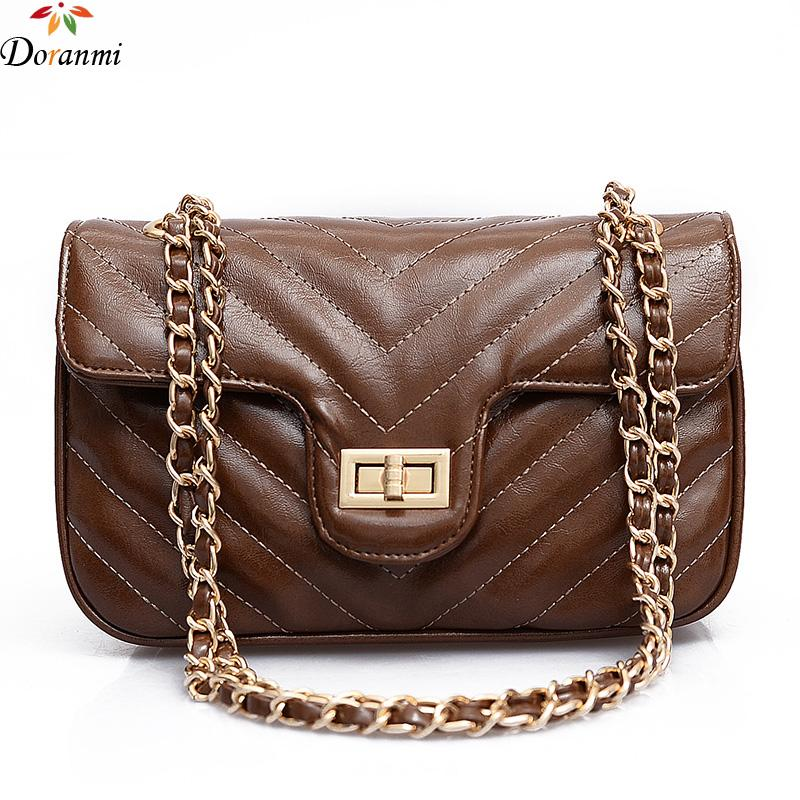bb87df4c38 DORANMI Striped Leather Women S Bag 2018 Luxury Brand Designed Chain Strap  Shoulder Bag Fashion Messenger Bolsa DJB005 Designer Handbags On Sale Black  ...