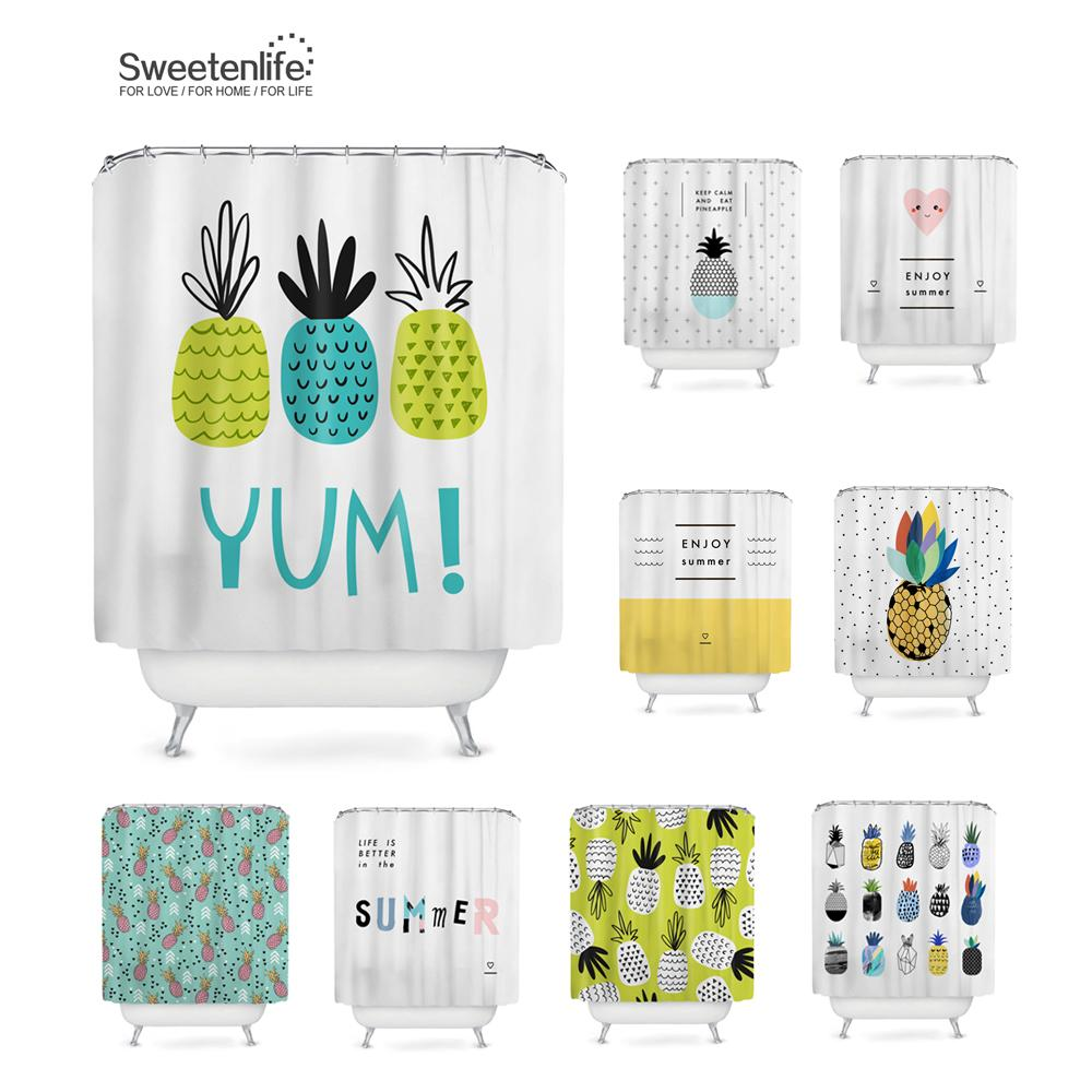 Sweetenlife Waterproof Shower Curtain Fabric Polyester Creative Bath Curtains Printed Pineapple For Bathroom 180180CM