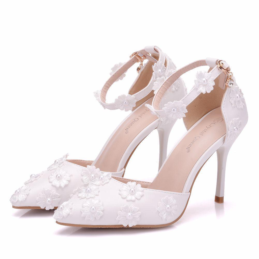 Cuero Zapatos Aguja Verano De Las Sexy Blanco Altos Mujeres Cm Estrecha 9 Bombas Punta Tacones Boda Vestido Flores BxWrdoCe