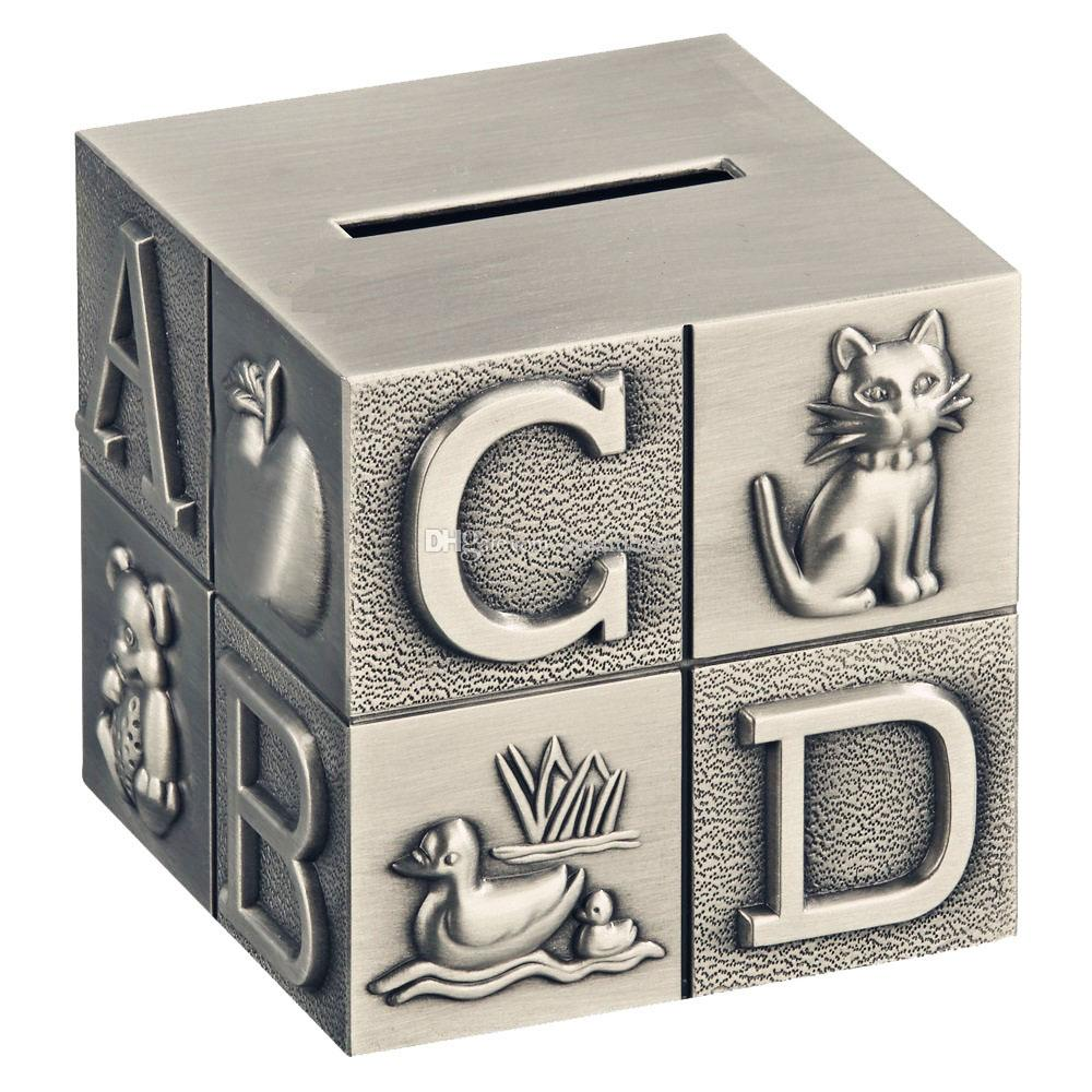 Abc Alphabet Block Piggy Bank For Baby Engraved Zinc Alloy Metal