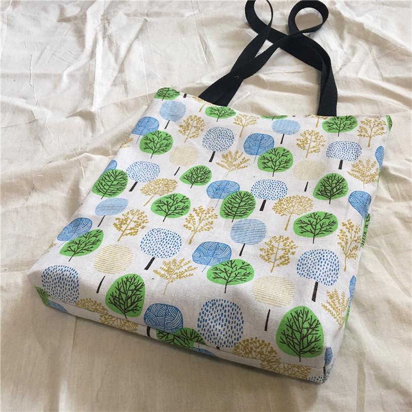 a1021512cb YILE Cotton Linen 2 Sided Eco Shopping Tote Shoulder Bag Round ...