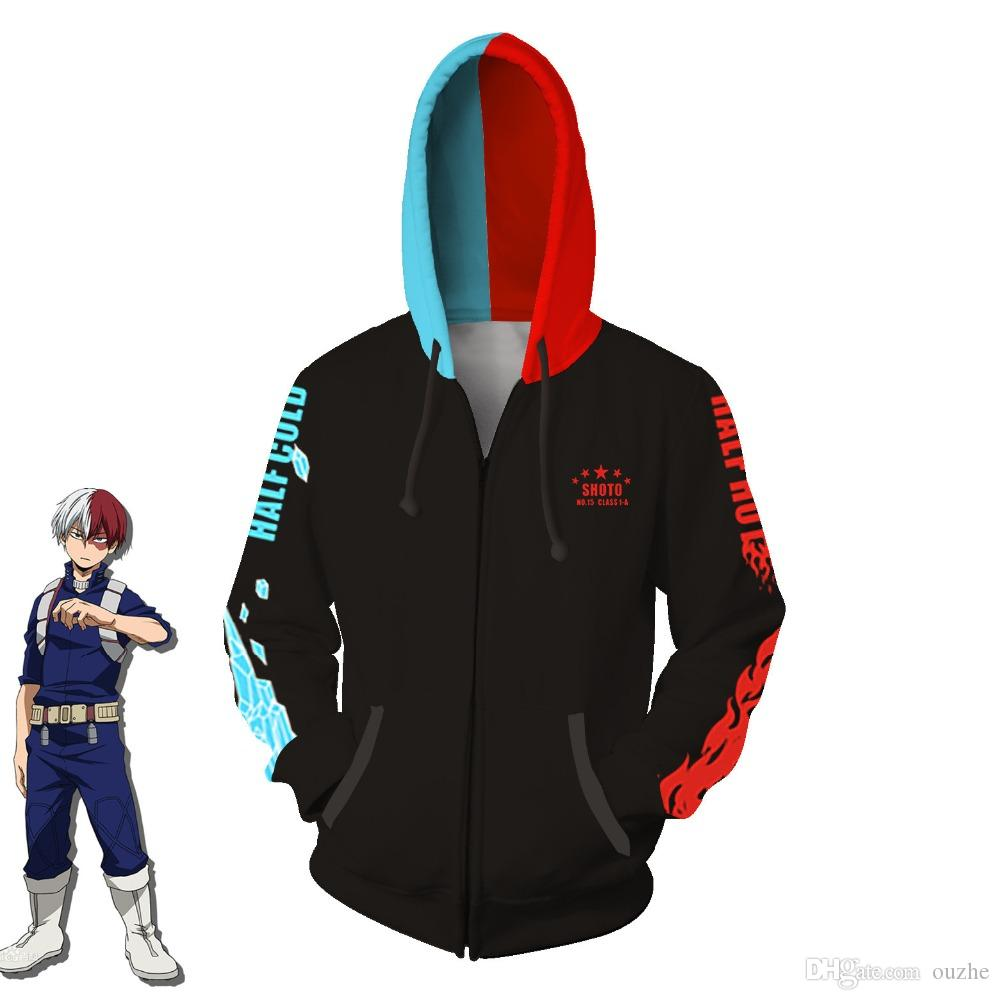 Impression Poche Fermeture Shirts Gilet My Éclair Hommes Vêtements Cosplay Mode Hero Todoroki Femmes 3d Costumes Academia À Shoto Capuche Sweat tshQrd