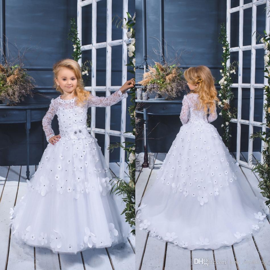 Romantic White Sheer Flower Girl Dresses A Line Sweep Train Kids