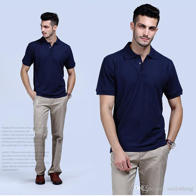 3fa945ac81f 2019 Wholesale 100% Pure Cotton Lapel Plain US Men Blank Polo T Shirts From  Sxclothing