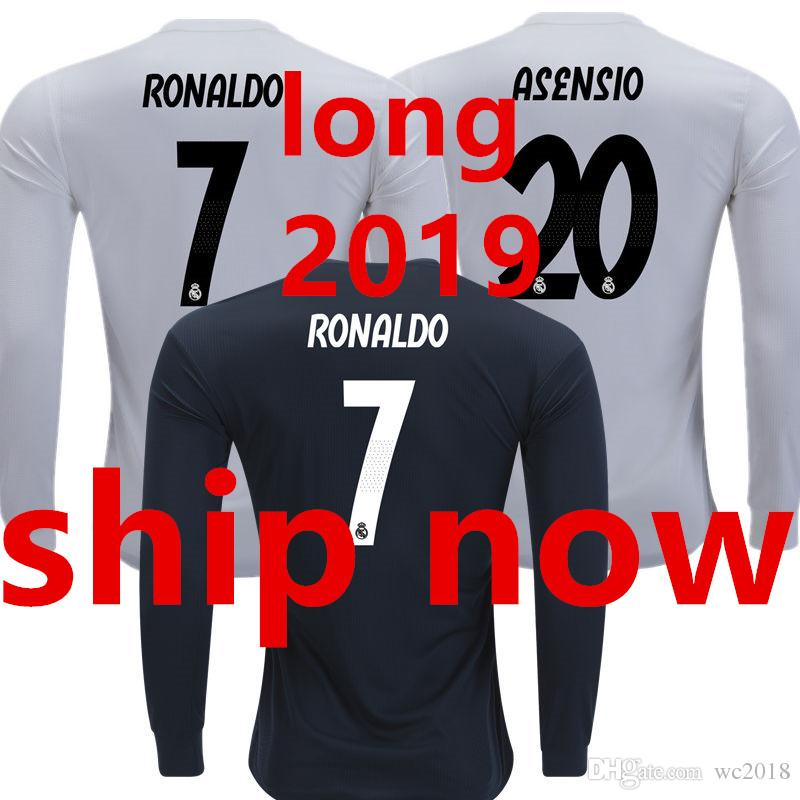 aa4fc0693 Soccer Jersey Real Madrid Long Sleeve Full 2019 2018 Home White Away ...