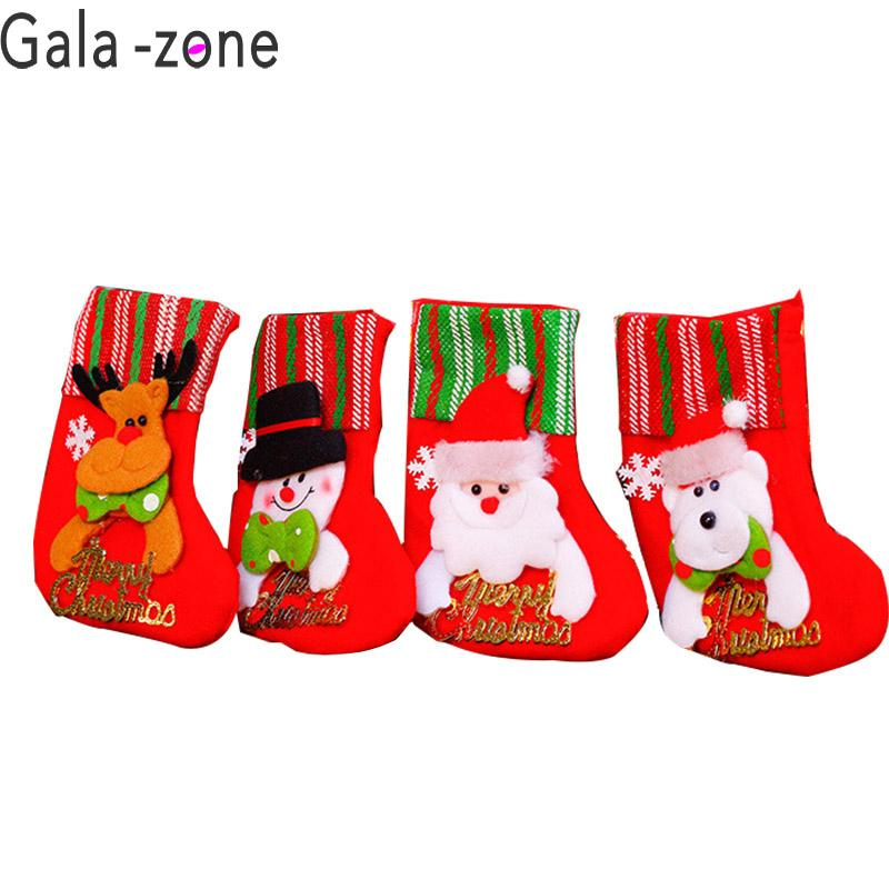 f4f437cab Gala Zone Christmas Socks Santa Snowman Elk Stockings Tree Hanging Pendant  Gift Ornament For Kids New Year Home Decor Exclusive Christmas Decorations  ...
