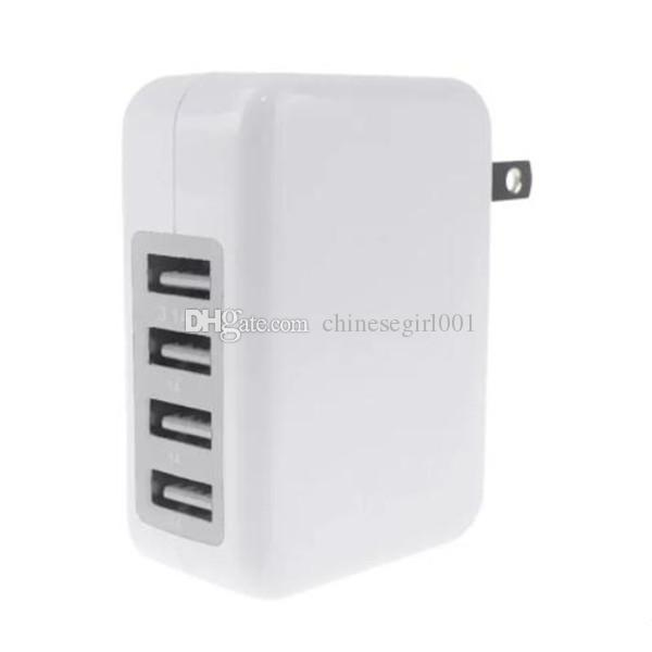 5V 3.1A 4 USB Port Wall Charger Home Travel Charger Power Adapter For iPhone X 6 7 With Retail Package