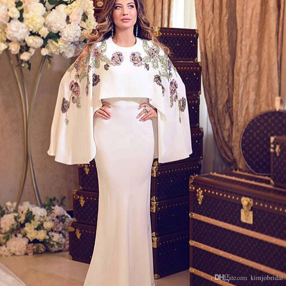 Großhandel Arabische Abendkleider Mit Jacke Stickerei Spitze Blumen Sicke  Perlen Weiße Meerjungfrau Bodenlangen Abendkleider Saudi Arabien Von