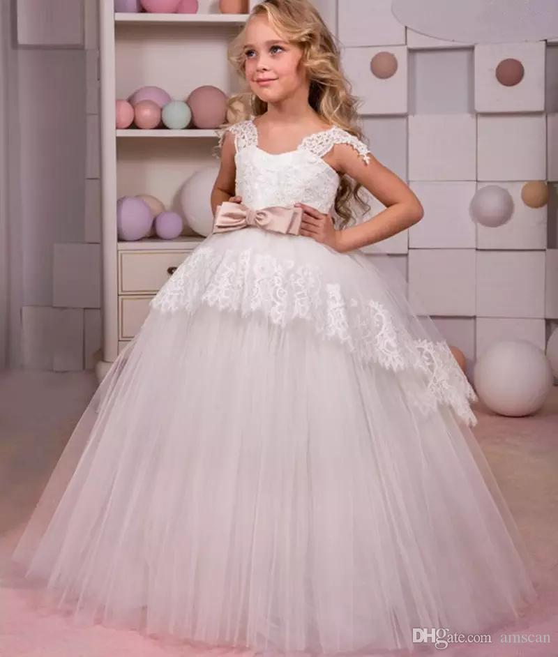 8ef04eeb9f4 Cute Flower Girl Dresses For Wedding 2019 Lovely Lace With Bow Belt  Princess Lace Up Kids Communion Dresses Ball Gown Girs Birthday Dress Green  Flower Girl ...