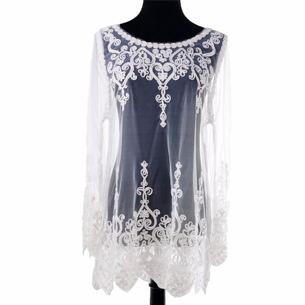 Maglie trasparenti camicette 2017 donne sexy Top Blusas ricamo camicia floreale in pizzo donne allentato Sheer Summer Top chemise femme