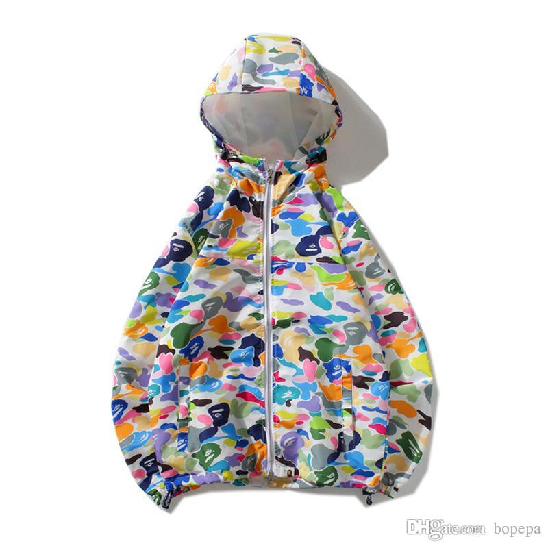 Wholesale Lover Camo Printed Windbreaker Cardigan Hoodies Hat Removable  Color Matching Sportwear Jacket Tops Sizes M-2XL