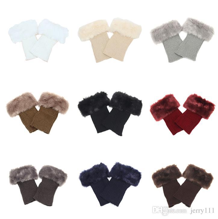 Compre Womens Winter Warm Crochet Knit Fur Piel Calentadores De La ...