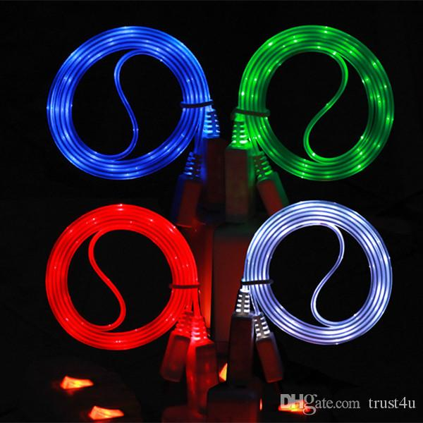 LED Micro USB Charger Cables Fabric V8 1M 3FT for Samsung S6 S7 Edge LG G5  K10 K7 Retail Box