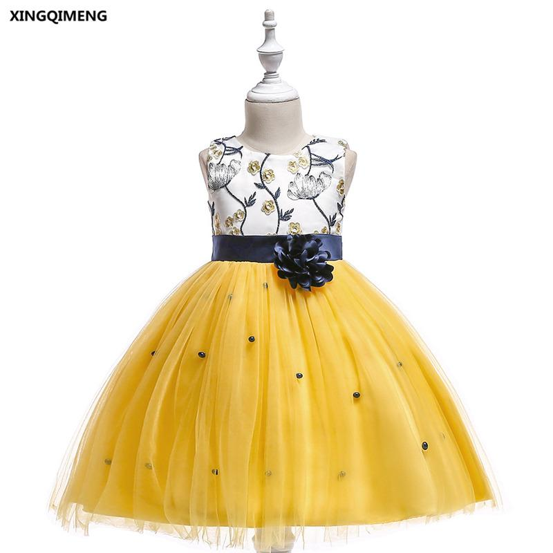 ac176288758e In Stock Yellow Short Embroidery Flower Girl Dresses 3-10Y White Formal  Dress for Little Girls Cheap Red Pageant Tulle Ball Gown