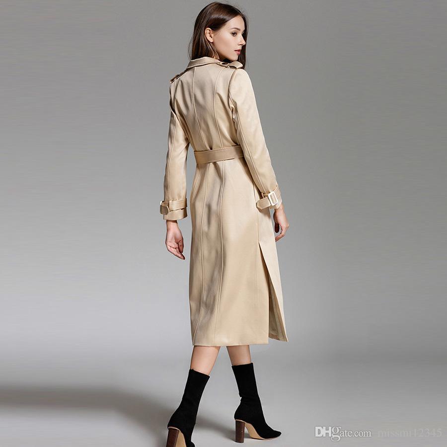 0a8d182b09f9 2019 New Autumn Winter Women S Classic Frenulum Trench Coats Ladies Elegant  Long Sleeve Coats Girls Fashion Slim Long Surcoat Jacket From Missmi12345
