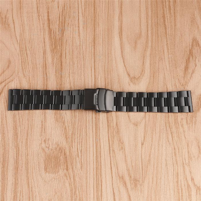 Mens 20/22mm Solid Stainless Steel Watch Band Black Bracelet Metal Strap Replacement Safety Folding Clasp