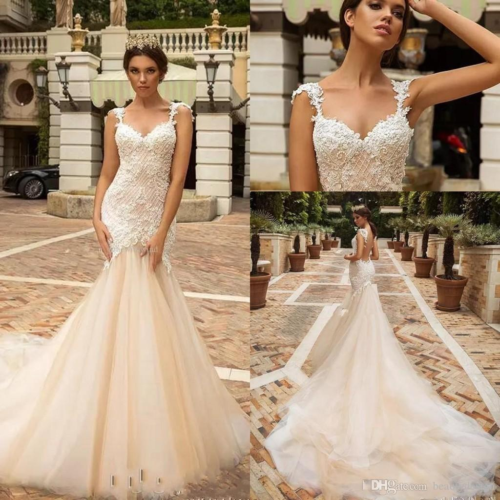 e4aa2d3545f 2018 Champagne Designer Mermaid Lace Wedding Dresses Crystal Design Bridal  Embellished Bodice Sleeveless Fit And Flare Backless Bridal Gowns Strapless  ...