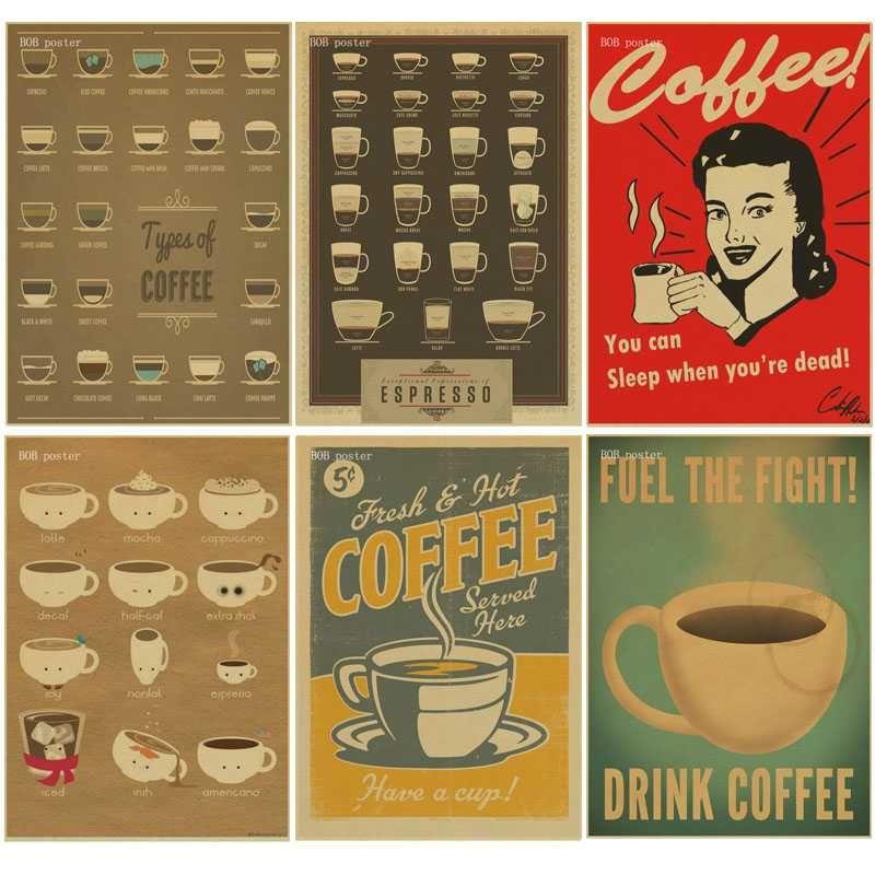 coffee espresso matching diagram poster retro kraft paper vintage