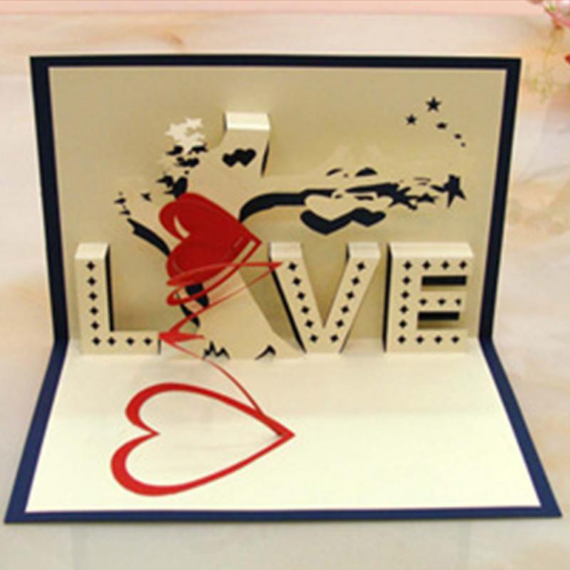 Wholesale Handmade Paper Cut Folding Card Birthday Wedding ValentineS Day 3D Greeting Cards Postcards Free Online