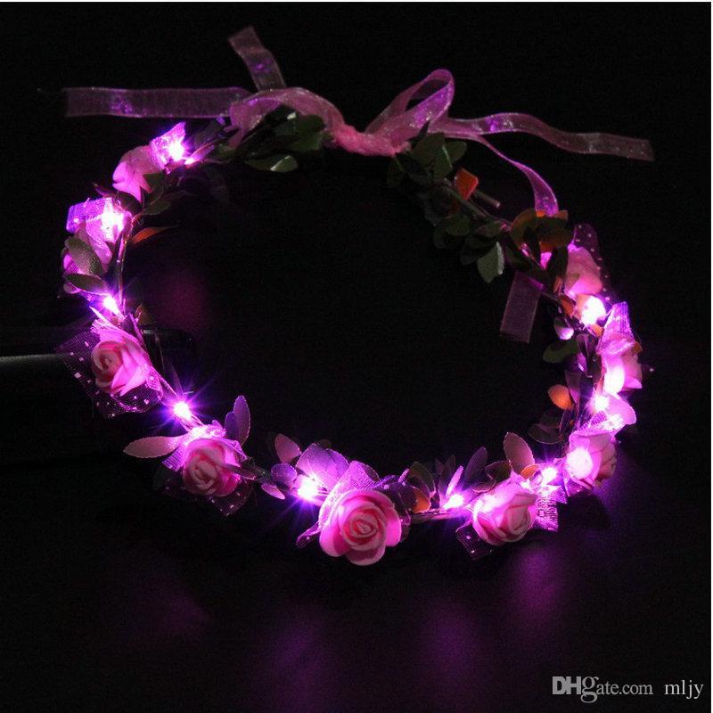 Мигающий LED свечение Роза Корона повязки свет партия рейв цветочные волосы гирлянда венок свадебный цветок девушка головной убор декор