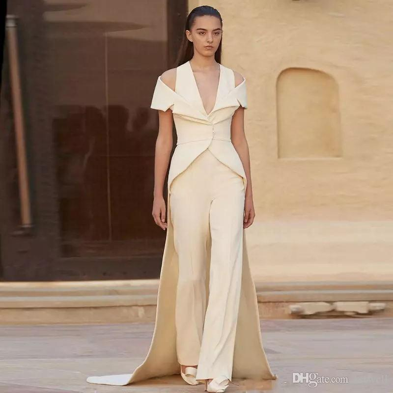 2018 New Ivory Jumpsuit Evening Dresses V Neck Prom Dress With Wrap