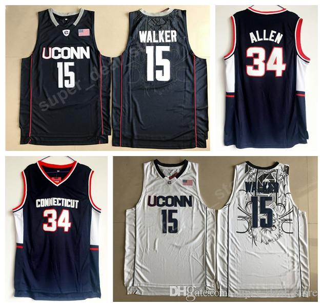 79f7cbe42e6f 2019 Uconn Huskies Jerseys College Basketball 15 Kemba Walker Jersey 34 Ray  Allen Navy Blue White All Stitched Top Quality On Sale From Vip sport