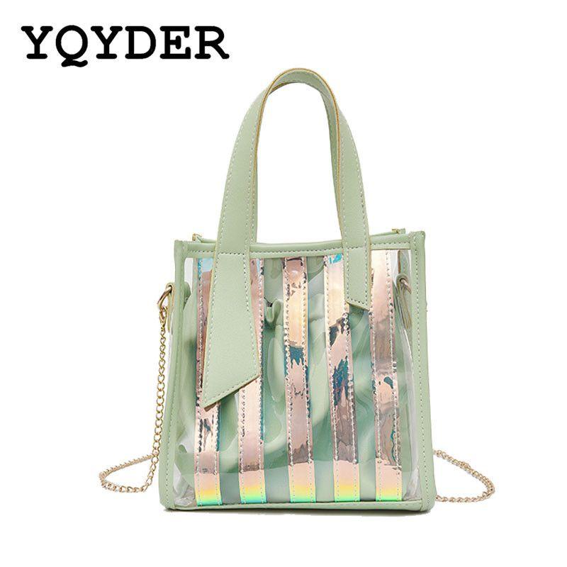 6354bdb52 Women PVC Jelly Small Handbags New Fashion Laser Holographic ...