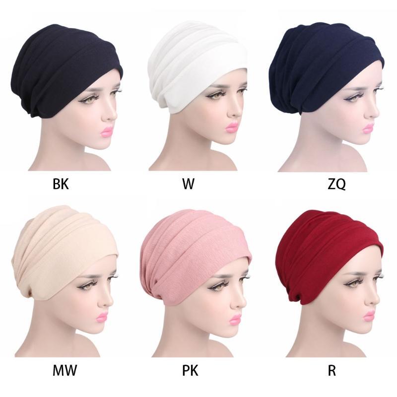 df30d2d62ae 2019 Unisex Cancer Beanie Cotton Sleep Cap Muslim Turban Hair Loss Chemo Hat  Pleated From Peachguo
