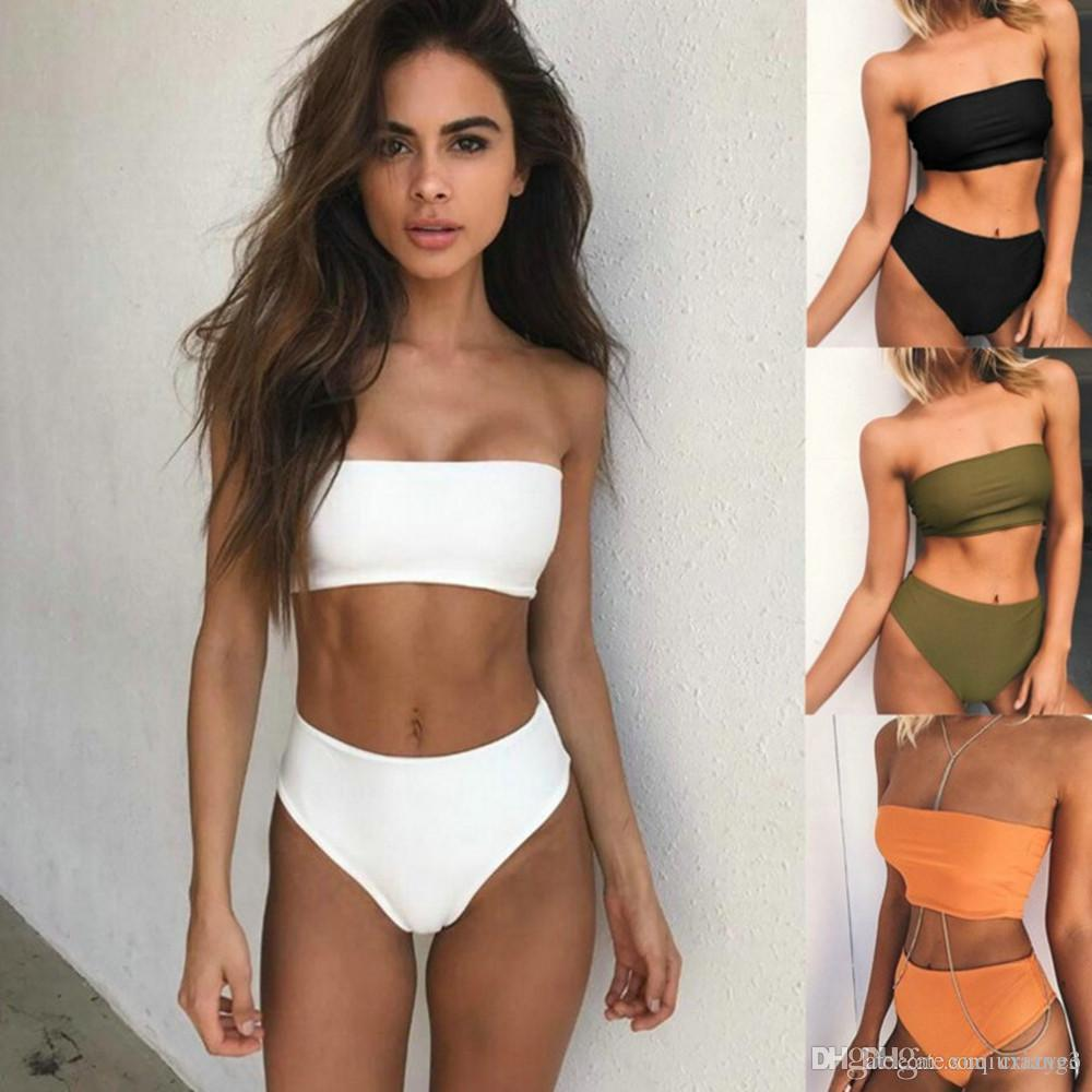 23df6d2e8d8ec9 2019 Solid Color Tube Top Two Pieces Women Swimsuit Sexy Swimwear Women Mid  Waist Girls Biquini Set Female Swimming Set Bathing Suit From Xuqiuxiang3