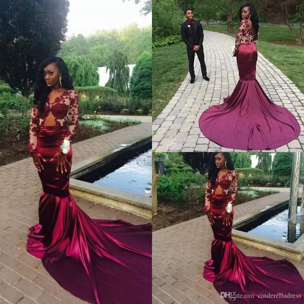 74ca7e92da41 Burgundy Long Sleeves Lace Mermaid Prom Dresses 2018 Sexy Backless Court  Train Sheer Evening Gowns Vestiods Formal Women Pageant Gown BA2422 Retro  Prom ...