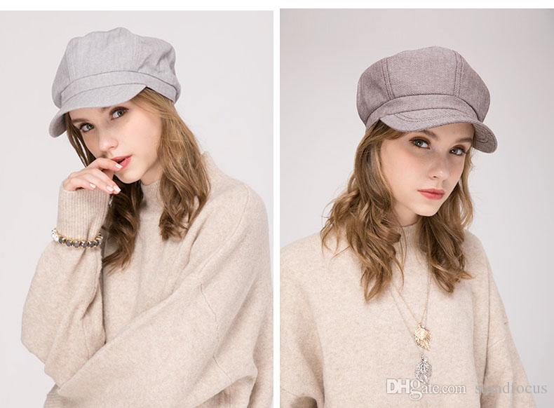 cf25062f449 ... Cabbie Gatsby Women Hat Newsboy Cap Ladies Fashion Cotton Linen  Herringbone Fabric Spring Summer Fall Light Gray Brown From Standfocus