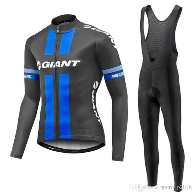 2018 Spring/Autumn Pro Team GIANT IAM Cycling Long Sleeve Jersey Bicycle Sport Clothing MTB Bike Bib Long pants set 4112